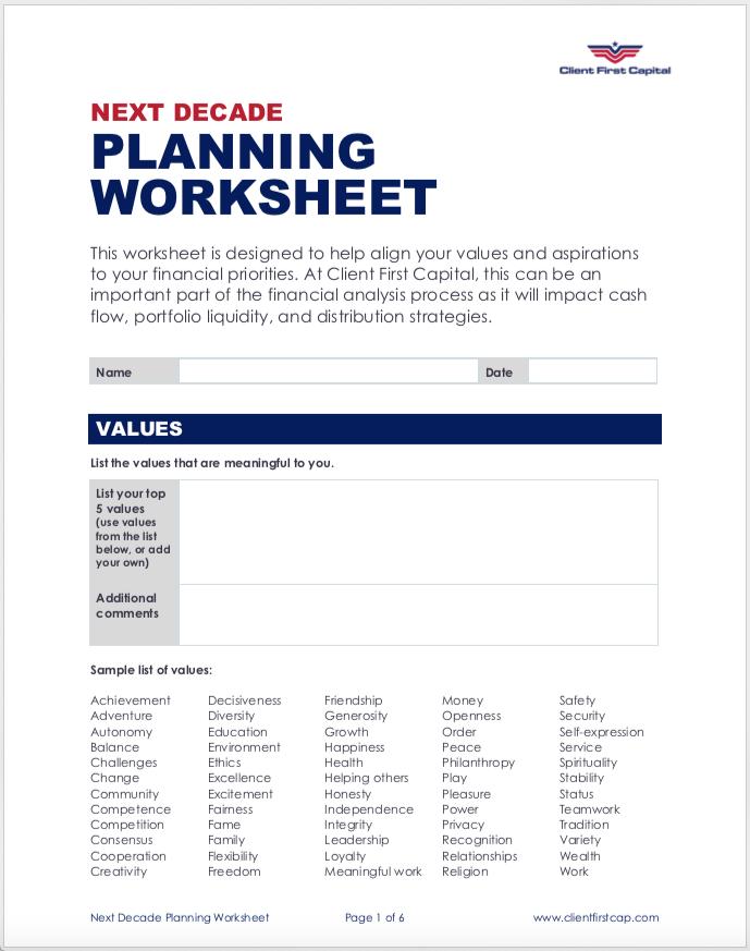 Next Decade Planning Worksheet